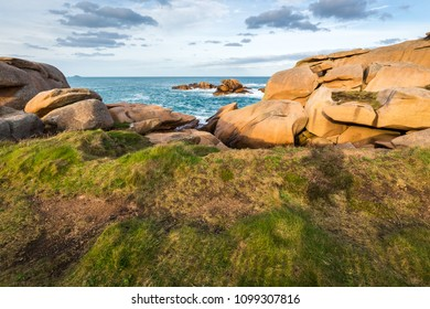 Red rocks at Ploumanach lighthouse, Saint-Guirec, Bretagne, France