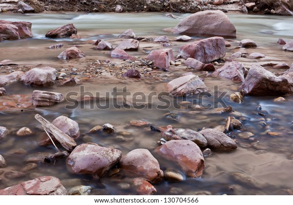 Red rocks in soft water in Zion's National Park, UT