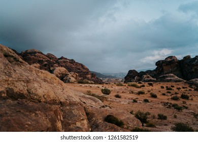Red rocky mountains in Petra, the ancient city of Jordan in the Middle East.