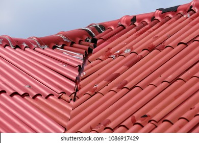The red roof was damaged by the construction work because of the workmanship was not enough, Damage caused by water leakagae.