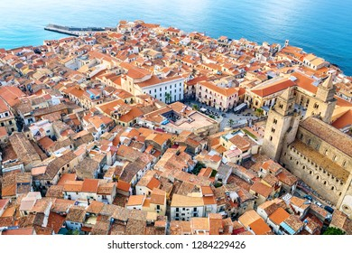 Red roof of old town. Cefalu, Sicily, Italy, Europe