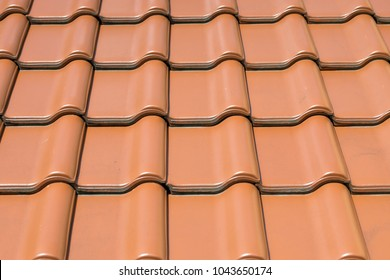 red roof tiles close up