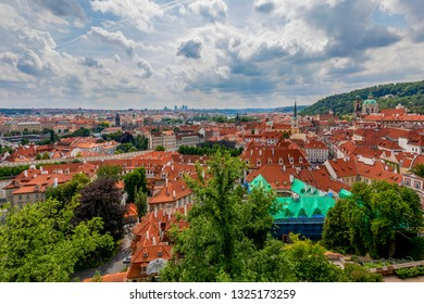 Red Roofline in Praque, view from the castle. Czech Republic