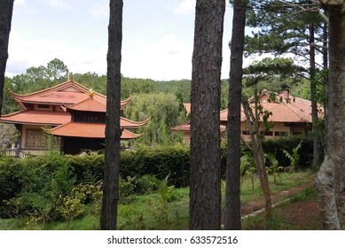 Red roofs of the Buddhist temple
