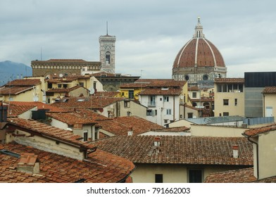 The red roofs of the Cattedrale di Santa Maria del Fiore and the neighboring buildings in Florence, Italy