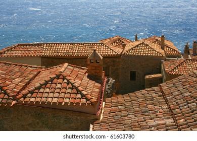 Red roofs and Mediterranean sea in Monemvasia, Greece