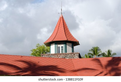 Red roofs  in shopping plaza near Ali drive in Kailua Kona, Big Island, Hawaii