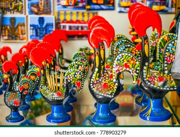 Red Rooster Iron Paperweights Souvenirs Colorful Handicrafts Lisbon Portugal.  Rooster is the symbol of Portugal