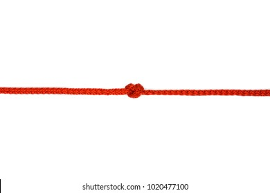 Red rope with knot isolated on  white background