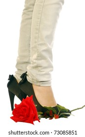 Red Rose and black shoes