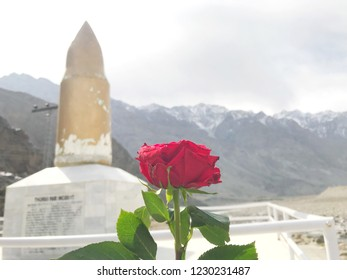 red rose blooming in front of Statue cartridge.Statue Memorial of War between Pakistan and India. Located at Skardu,Pakistan beside Indus river.