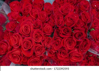 Red rose bouquet background in grocery store