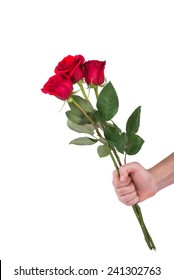 red rose bouquet flowers in hand men isolated on white clipping path included