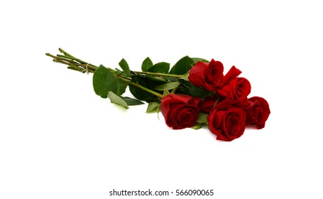 red rose bouquet isolated on white background