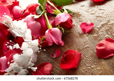 red rose, drop water