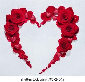 Red rose flower bouquet heart shape