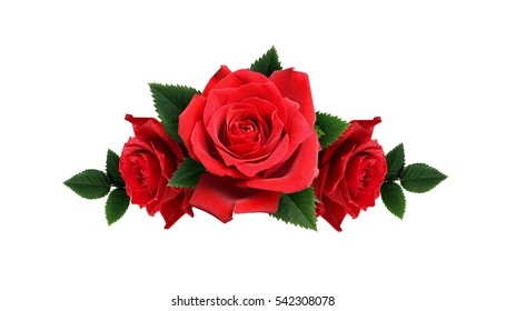Red rose flowers arrangement isolated on white