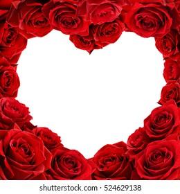 Red rose flowers heart shape frame isolated on white