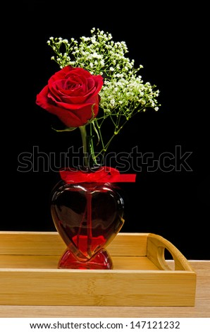 Red Rose Heart Shaped Vase Black Stock Photo Edit Now 147121232