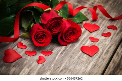 Red Roses Hearts On Old Wooden Stock Photo Edit Now 559735282