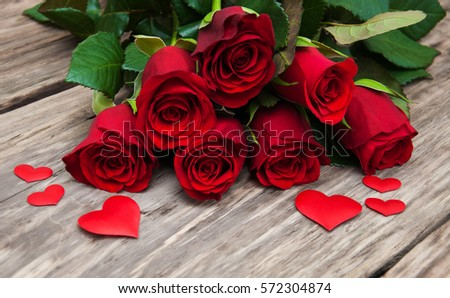Red Rose Hearts On Old Wooden Stock Photo Edit Now 572304874