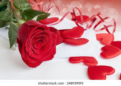 Red rose, hearts, Valentine background with hearts of bubbles