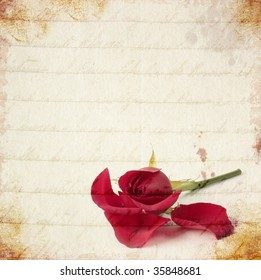 Red rose losing petals vintage card