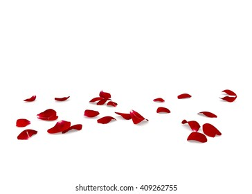 Red rose petals scattered on the floor. White isolated background