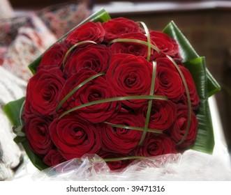 A red rose wedding bouquet