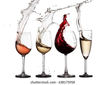Red, rose, white wine and champagne glasses splash