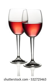 Red or rose wine glasses isolated on white background