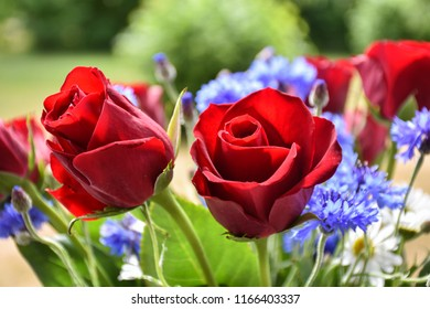 Red roses in a beautiful summer flowers bouquet