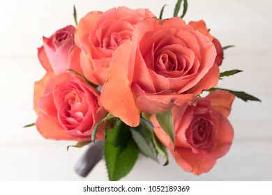 Red roses bouquet from above
