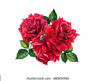 Red roses bouquet, bunch. Isolated watercolor illustration
