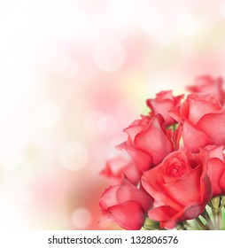 Red roses bouquet with free space for text