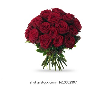 Red Roses Bunch Bouquet Isolated White Background
