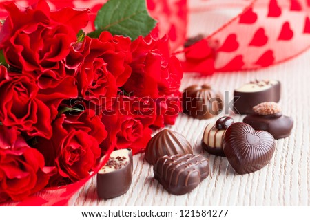 Red Roses Chocolate Candies Valentines Day Stock Photo Edit Now