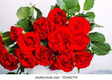 Red roses close up bouquet border