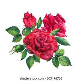 Red roses - floral composition. Watercolor for wedding card