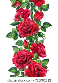 Red roses flowers - floral seamless border. Watercolor frame