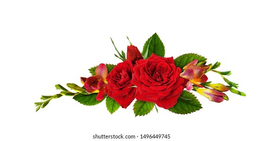 Red roses and freesia flowers in a floral liner arrangement isolated on white background