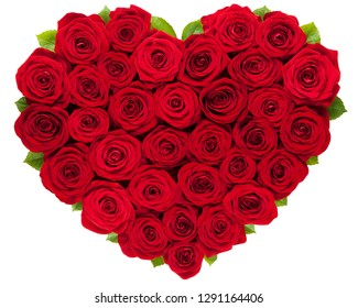 Red roses heart isolated on white background