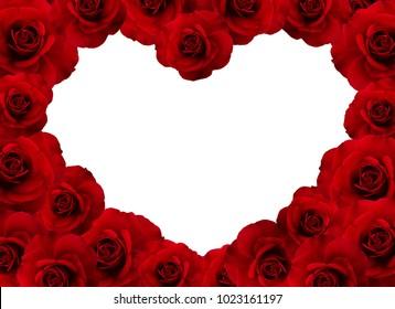 Red roses heart shape border on white background