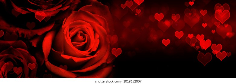 Red roses with heart shapes background