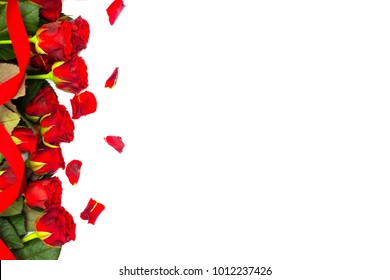 Red roses with leaves and thorns on a white background. Romantic day card for lovers