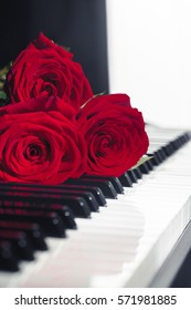red roses on piano keys