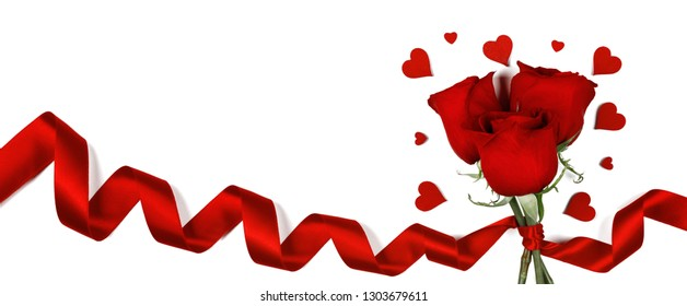 Red roses with red ribbon and hearts isolated on white background Valentines day concept