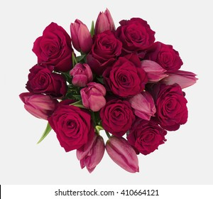 Red Roses Red Tulips Bouquet on isolated white background