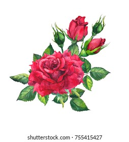 Red roses. Watercolor drawing for Valentine day card