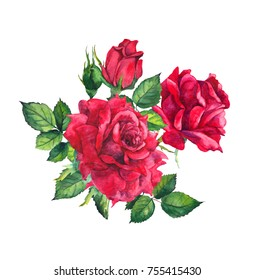 Red roses. Watercolor painting